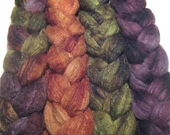 Wonder Bundle Merino & tussah silk roving 9.7 oz New Moon Gathering - hand dyed spinning fiber - combed top bundle - earthy fiber set