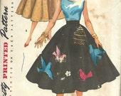 1950s Simplicity Full Circle Skirt Pattern No. 4884 , Simple to Make  Waist 25 Hip Swing