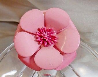 SALE Vintage Pink Flower Brooch.  60s Flower Power Pink Enamel Flower Blossom Pin.