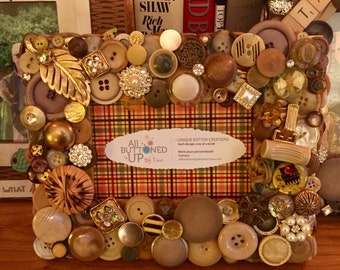 GOLDEN TUSCAN Button Frame in Amber and Gold ~ Italian Colors ~ Rustic Decor ~ Gift for Her ~ Gift for Him ~ Vacation Frame ~  for 4x6 photo