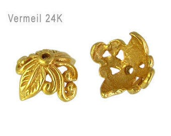 Arrives Thursday! Set of 2 Bali 24kt Gold Vermeil Leaf & Vine Bead Caps, 5mm x 9mm, artisan-made supplies, bridal - TAKE10 for 10% off