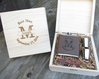 Custom Engraved Groomsmen Gift Set, Personalized Groomsmen Gift Box, Custom Engraved Flask Set, Wedding Party Gifts, Last Initial PRSE