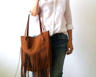 Fringes  Leather tote bag - Shoulder Bag -Every day leather bag - Women bag- brown