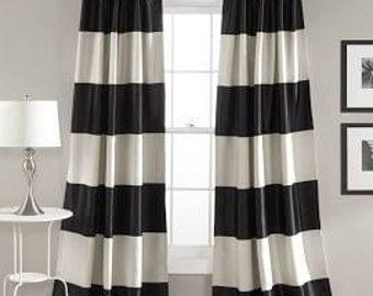 cabana stripes black and white or nautical navy blue curtains window