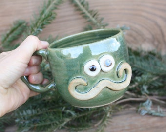 Hipster Mug. Mans Handlebar Mustache Mugs. Ironic Mustachio Teacup. Green. Mustache Love Mug. Fun Funky Pottery Coffee Cups for Him.
