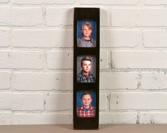 Stacked Rectangle Window Picture Frame for (3) 2.5 x 3.5 Standard Wallet size Photos in Finish COLOR of YOUR CHOICE - Gift Frames