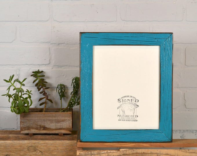 8x10 Picture Frame in Reclaimed Cedar with Super Vintage Turquoise Finish - IN STOCK - Same Day Shipping 8 x 10 Green Blue Frames