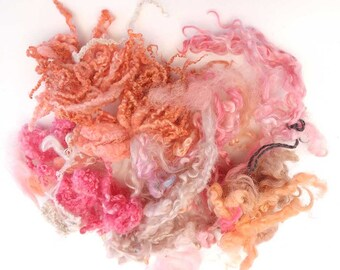 wensleydale BFL pink brown mix long wool locks for Blythe Doll Hair, BJD, Art Dolls, waldorf doll, spinning and felt. 50 gr