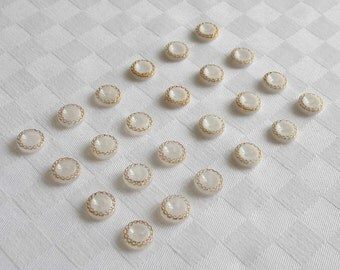 """24  fabulous 2-hole  glass buttons - with fine golden trim - 2 diff. versions : 12 pcs opaque - 12 pcs semi trans parent   (11mm - 7/16"""""""