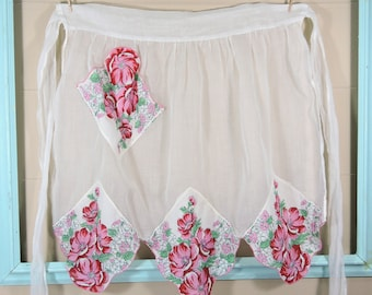 Vintage Flower Hankie Apron / Sheer Hankie Apron / Pink Flower Apron