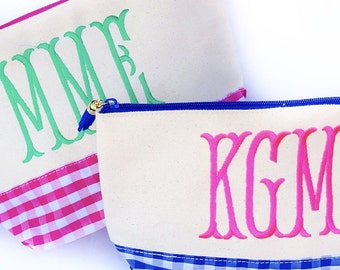 Canvas monogram BLUE gingham cosmetic bag
