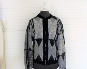 Mens Vintage Sweater, Cardigan 1960s Geometric Print Cardigan, Grey and Black Print Sweater, Wool Sweater Size Medium Mens Sweater, Cardigan