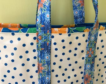 Large blue dot and oranges print oilcloth tote bag