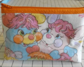 Popples Makeup- Bag / Pouch--Handmade-Vintage 80s Puffball, Pancake Party PJ