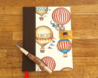 Blank Journal with Lock, Lockable Journal, Hot Air Balloons, Leather Latch, Bullet Journal, Travel Journal, Gratitude Journal, Pretty Diary