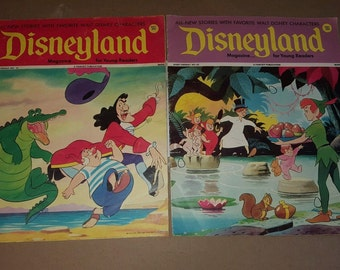 2 1970s Disneyland Magazine Issues 62 & 65 Peter Pan Captain Hook Covers