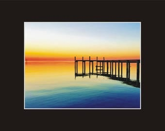 Sunset Ocracoke Still Waters Photographic Print matted in black North Carolina