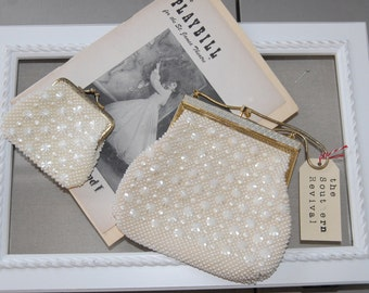Vintage Lanza Beaded Purse and Coin Purse, Designed in Italy Lanza 1950's Purse and Coin