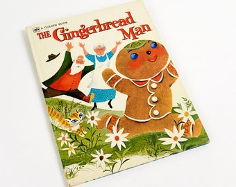Vintage 1970 s Childrens Book / The Gingerbread Man Big Golden Book 1974 Hc / Bonnie and Bill Rutherford Illustrations