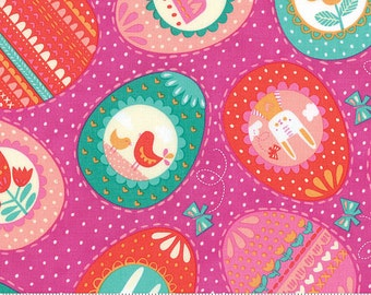 Spring Bunny Fun Multicolored Easter Eggs Butterflies Rabbits Chicks and Flowers Fabric by Stacy Iest Hsu for MODA
