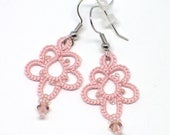 """Romantic lace earrings in dusty rose with pink crystal and glass beads. For Prom and Bridesmaids. 1"""" Flower drops. Handmade Tatted lace."""