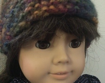 Hand knit hat, 18 in doll size, doll accessories