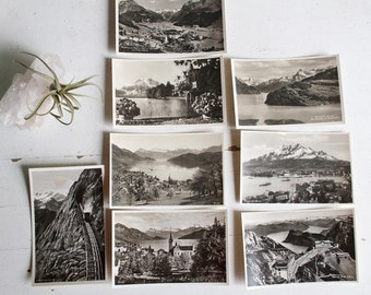 Photo Postcards From Switzerland, Lucerne, Zurich, Swiss Alps, Black And White Photography, Souvenir, Mountain Photograph
