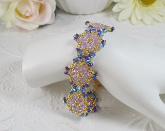 Woven Bracelet in Swarovski ABx2 Purple and Violet