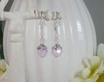 Pink Opal Earrings Swarovski Sterling Silver Filigree Gifts for Her