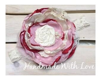 Vintage Valentine Lace Flower Band---VALENTINES Day