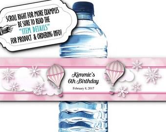 10 Waterproof Peel & Stick Water Bottle Labels, Hot Air Balloons, Snowflakes, Wedding, Bridal Shower, Baby Shower, Birthday, Pink or Blue