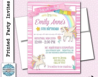 Printed Party Invitations, Invite with Envelope, Unicorn, Rainbows, Pastel Colors, Pink stripes, Birthday Party, Baby Shower