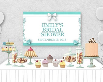 """Vinyl Welcome Banner, 36""""x20"""", 48""""x30"""", Aqua & White, Bow, Diamond, Baby or Bridal Shower, Sweet 16, Wedding, Birthday Party, Table Backdrop"""