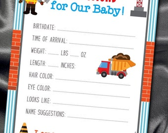 10 Prediction Cards, Baby Shower Activity Games, Guessing Game, Construction Theme, Builder, Building Crane, Dump Truck, Tools, Baby Shower