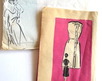Vintage 1960's Sleeveless or Short Sleeve Dress Sewing Pattern 4675 Madmen Office Wear Size 14.5 UNCUT