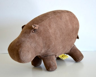 Vintage 1970's Kerr Kreations Suede Stuffed Hippo Plush Stuffed Animal Hippopotamus