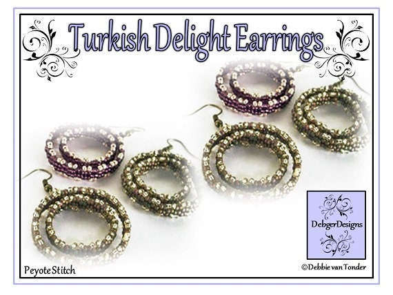 Beading Pattern, Tutorial, Double Peyote, Earrings - TURKISH DELIGHT