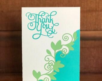 Handmade Die Cut Thank You Card 5x7