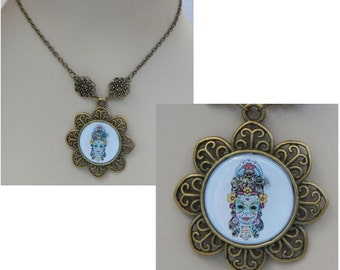 Gold Sugar Skull Pendant Necklace Jewelry Handmade NEW Day of the Dead Fashion Accessories