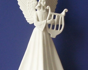 Mirmasu White Sculpture Angel Figurine Playing a Harp, Holiday Figurine, Spanish Art, Studio Line Art, Matte Porcelain, Art Pottery Figurine
