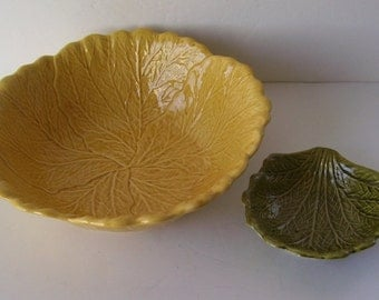 California Pottery Large Yellow Leaf Bowl and Green Bowl, Chip and Dip, Mid Century, Studio Line Pottery, R- 180,  Party Chip and Dip Bowl