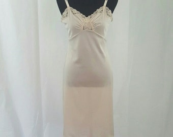 Vintage Pale Pink Shadowline Slip Chemise Dress 36 Tall
