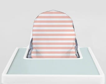 Pale Pink Railroad // IKEA Antilop Highchair Cover // High Chair Cover for the PYTTIG Cushion // Pillow Slipcover