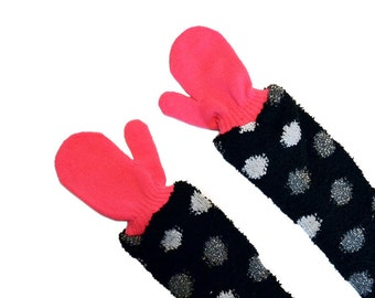 Childrens Long Mittens, toddler mittens, baby mittens, hot pink mittens, polka dot
