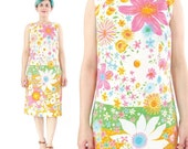 25% OFF Sale 40 Percent OFF SALE 1960s Floral Cotton Dress Mod Shift Dress Color Block Stripes Flower Power Colorful Floral Dress Sleeveless