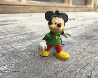 Vintage Made Hong Kong rubber Mickey Mouse keychain fob, 1980s Disneyland souvenir keychain, Mickey Mouse collectible, 70s Walt Disney toy