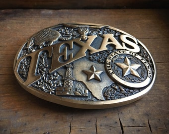 1980s TEXAS belt buckle solid brass Award Design Metals, State of Texas belt buckle, Texas longhorn, Texas star, Texas State, gift for him