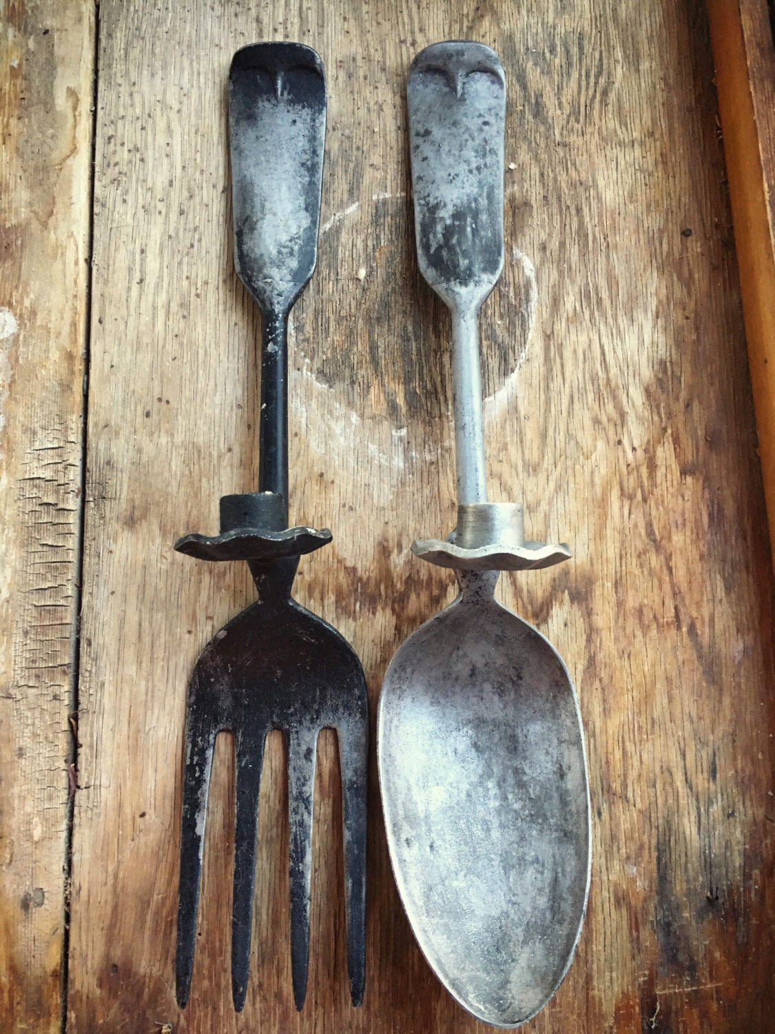 Large Fork And Spoon Wall Decor Vintage Oversized Metal Fork And Spoon Candle Holder Wall Hangings