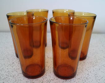 set of 6 vintage amber glass water glasses