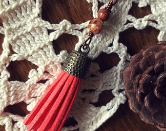 SALE! Coral Bronze and Gold Long Tassel Necklace